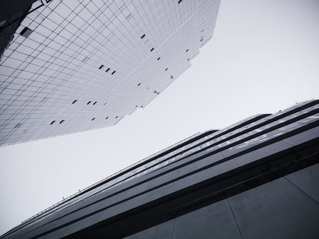 surface level: Architecture detail Modern Glass facade building Black and White