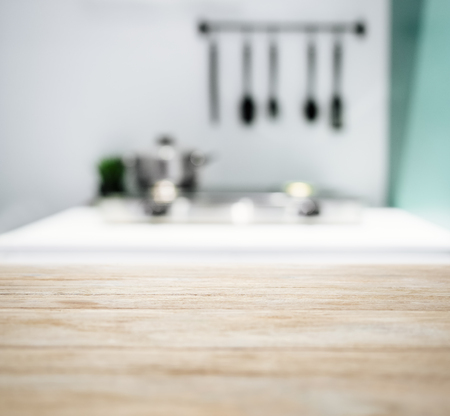 Table Top with Blurred Kitchen Counter Home Interior Background Zdjęcie Seryjne