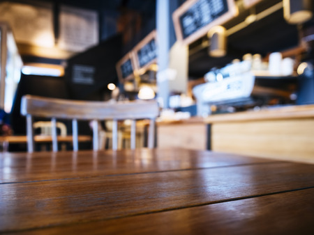 counter top: Table top with seats in Bar Counter Cafe Restaurant background Stock Photo