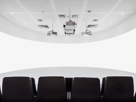 mocked: Theatre Screen projector Auditorium with seats Modern Interior Stock Photo