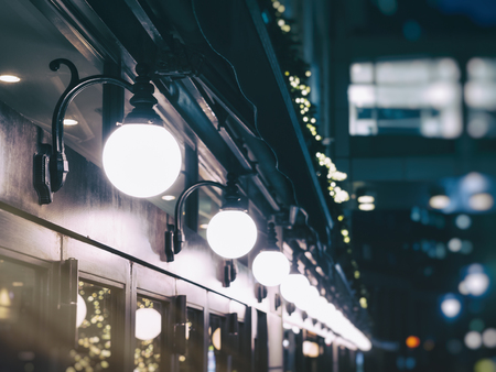 holiday lights display: Lights decoration Shop front Event Festival outdoor Vintage tone