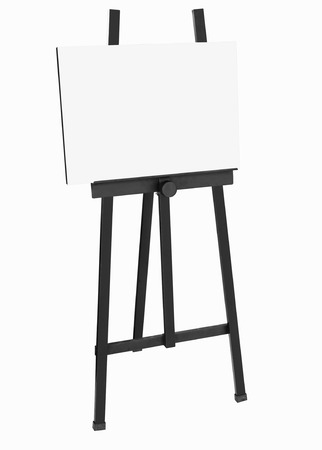 blank canvas: Painting stand Black easel with blank canvas poster isolated