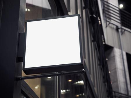 square shape: Signboard shop Mock up square shape Shop display Stock Photo