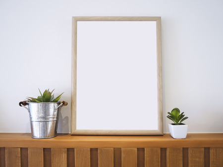 Mock up Poster Wooden Frame with Plants Hipster Home decoration Background