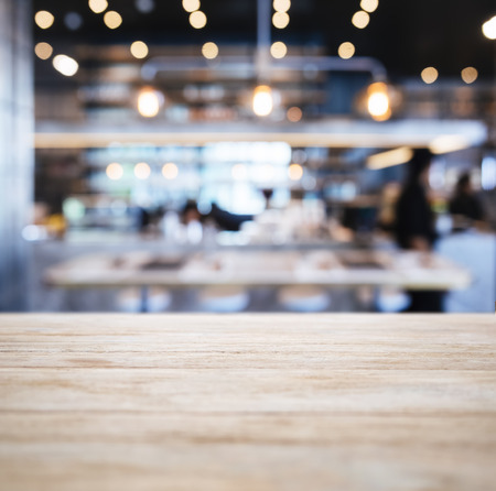 Table top Counter with Blurred People and Restaurant Shop interior background Фото со стока - 59490815
