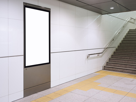 Poster mock up Display in subway station with stairs
