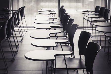 Lecture room with empty seats in row Stockfoto