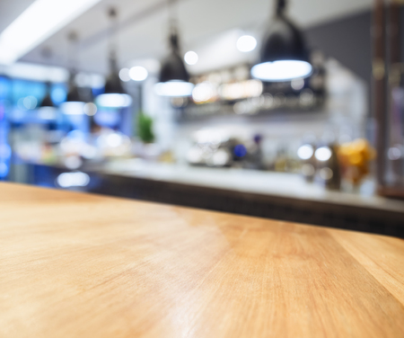 Table top counter with Blurred Kitchen background Standard-Bild