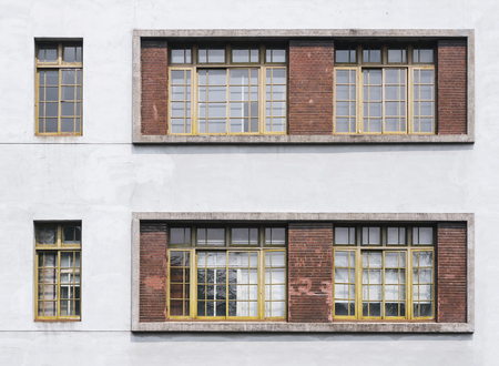 surface level: Window frame pattern on white wall Architecture details