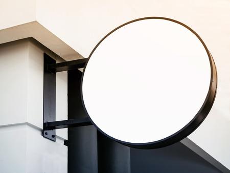 mocked: Signboard shop Mock up Circle shape with lighting