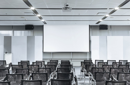 perspective room: Business meeting Seminar room conference and Seats with Blank Mock up white board