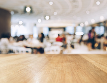 Table top Counter with Blurred People and Restaurant Shop interior background