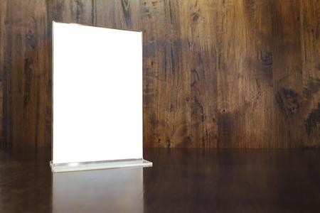 mostradores: Maqueta marco de menús en la Tabla Fondo de madera