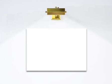 exhibition display: Blank Poster template with lighting on white wall exhibition display