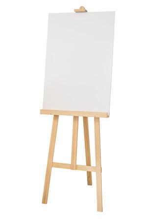 Schilderen staan houten ezel met een leeg doek poster bord op een witte achtergrond Stockfoto