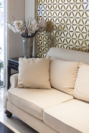 details: Living room sofa modern style Interior with pillows and flower