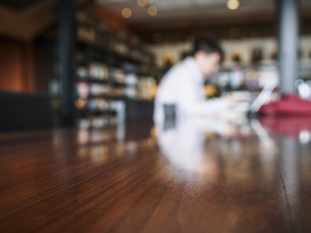 blurred people: Table Top counter Bar with Blur people working Background