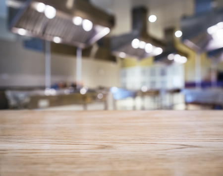 Blurred Kitchen background with Table top Counter Mock up Archivio Fotografico