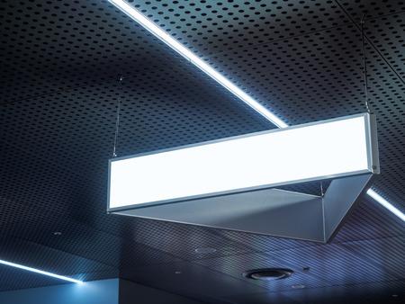 letreros: Letrero que cuelga en el edificio Muestra en blanco con Luz