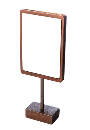 white poster: Mock up menu stand frame template wooden sign isolated Stock Photo
