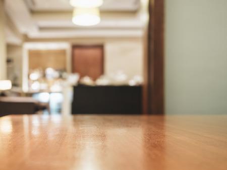 Table top with Blurred Room interior decoration Archivio Fotografico
