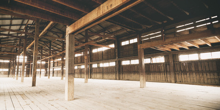 Barn Interior Wooden Construction perspective Stock Photo