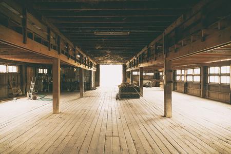 Barn Interior Wooden Construction perspective 写真素材