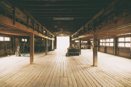 Barn Interior Wooden Construction perspective Foto de archivo
