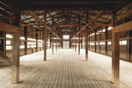 Barn Interior Wooden Construction perspective Stok Fotoğraf
