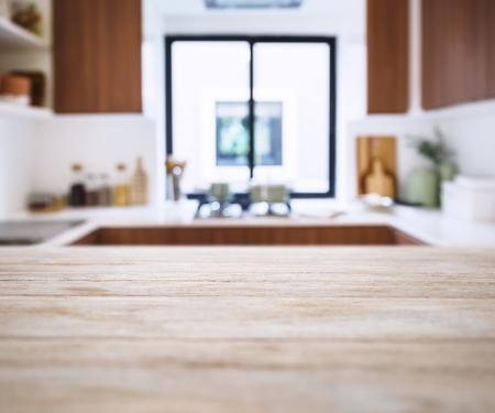 ぼかしキッチン パントリー ホーム背景とテーブル トップ