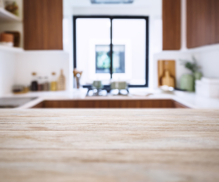 Table top with Blur Kitchen Pantry Home background