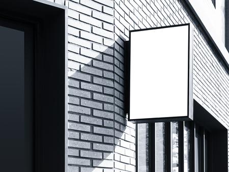 mocked: Signboard shop Mock up Black Hanging square sign display exterior