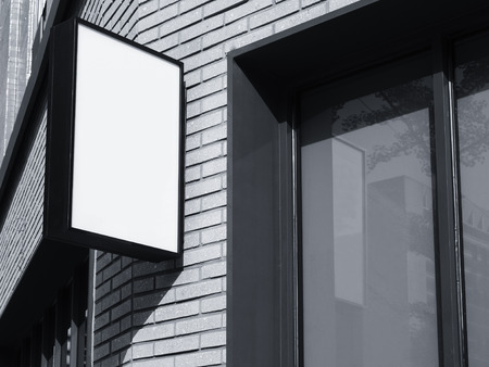 shop sign: Signboard shop Mock up Black Hanging square sign display exterior perspective Stock Photo