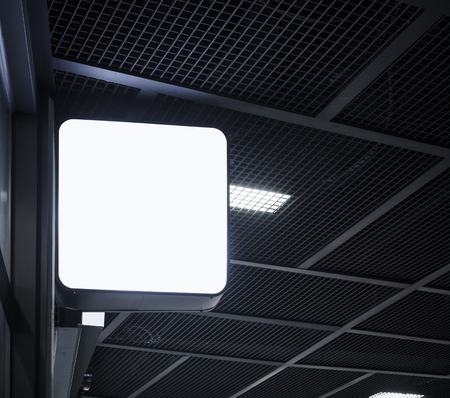 square shape: Signboard shop Mock up square shape display perspective