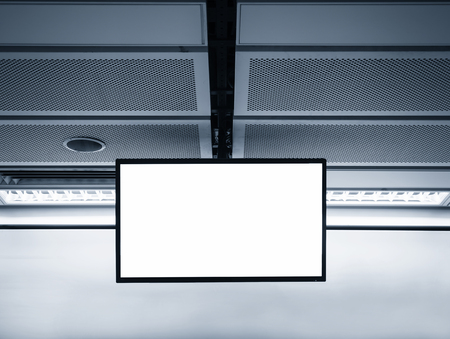 mocked: Blank LCD Screen display mock up banner in Subway station Stock Photo