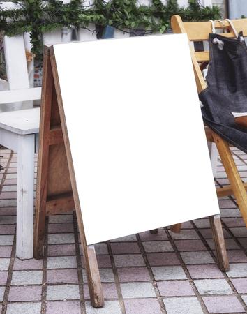 mocked: Signboard Menu Frame stand Blank banner Shop front outdoor