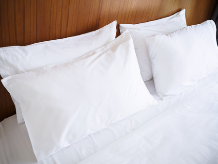 White pillows Comfort Bed Clean linen bed sheet