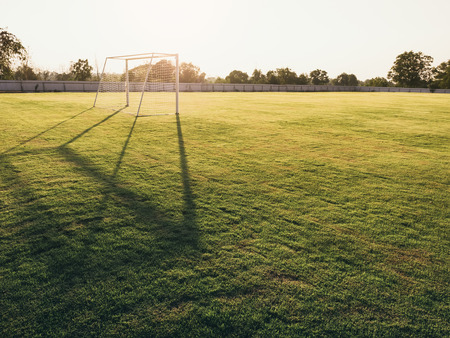 Voetbalveld Goal Green Grass Outdoor Sunset Stockfoto