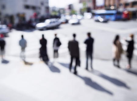 societies: Blur People walk on street at cross intersection Urban Lifestyle