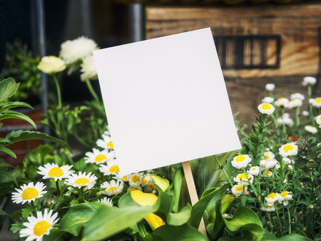 Mock up Paper sign with garden flowers outdoor background