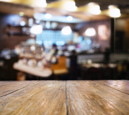 Table top counter Blurred Bar restaurant cafe People interior background