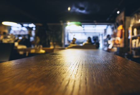 bar top: Table top Blurred Bar cafe restaurant background Stock Photo