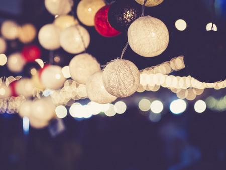 ライトの装飾パーティー イベント祭屋外ボケ 写真素材