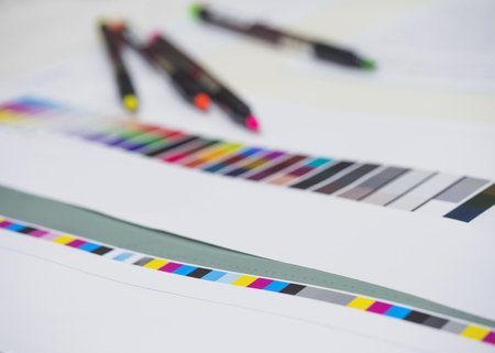 digital printing: Color chart with neon pen on Digital Printing Offset Industry Layout work process
