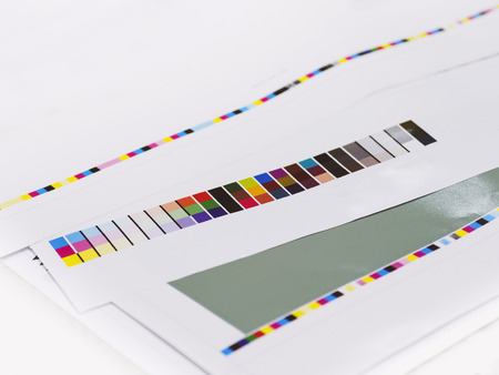 digital printing: Color chart on Digital Printing Offset Industry Layout work process Stock Photo