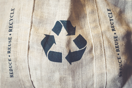 recycle sign: Recycle sign Symbol on Eco Shopping bag Environmental friendly