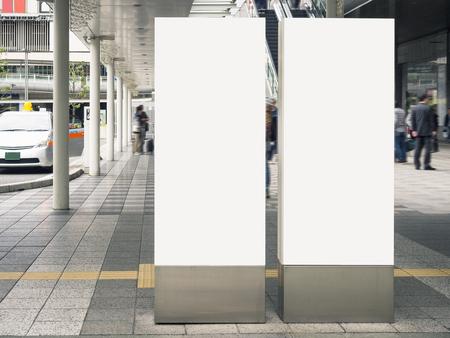 Maqueta en blanco Banderas de señalización Estación de tren Edificio público