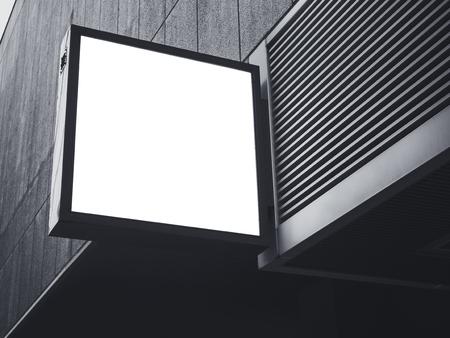 Signboard shop Mock up square Sign display Building Exterior Banque d'images