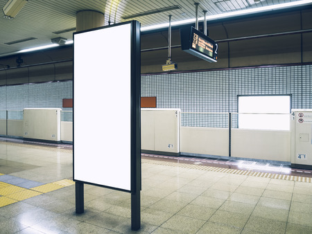 public transfer: Mock up Blank Billboard Poster sign Subway Train underground