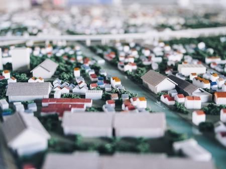 Tilt shift blur effect Architecture Model city town plan street view Stock Photo